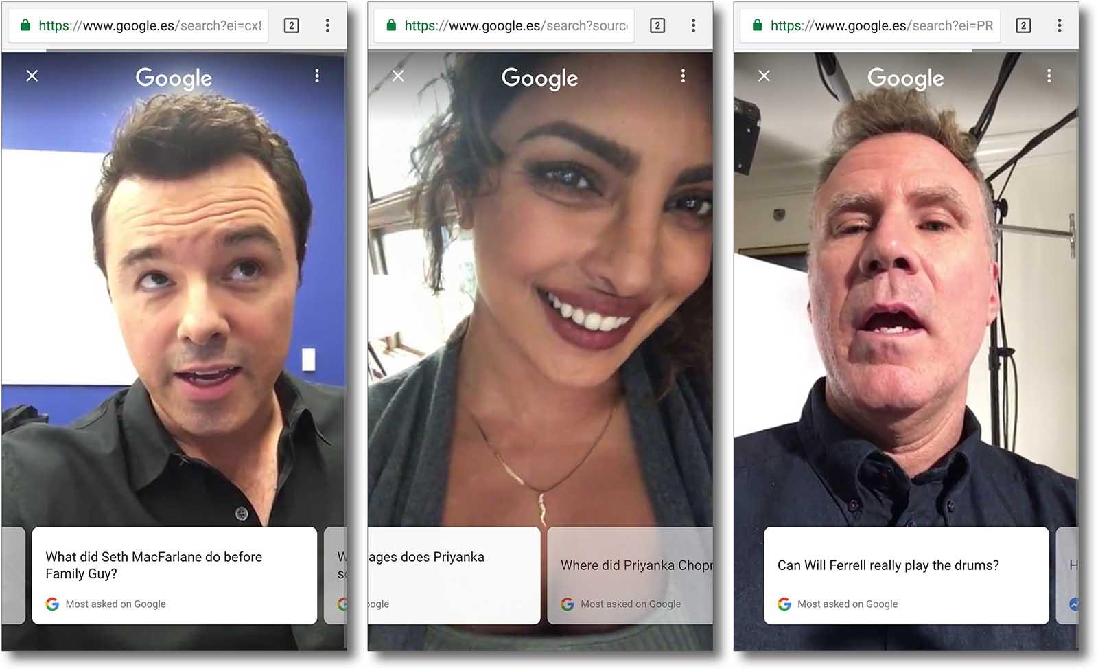 Google achéganos respostas de celebridades en vídeos captados co móbil